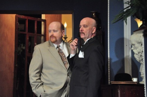 "Jim Fippin (Hastings) and Ross Rhodes (Poirot) in ""Black Coffee."" Photo from www.ohio.com"