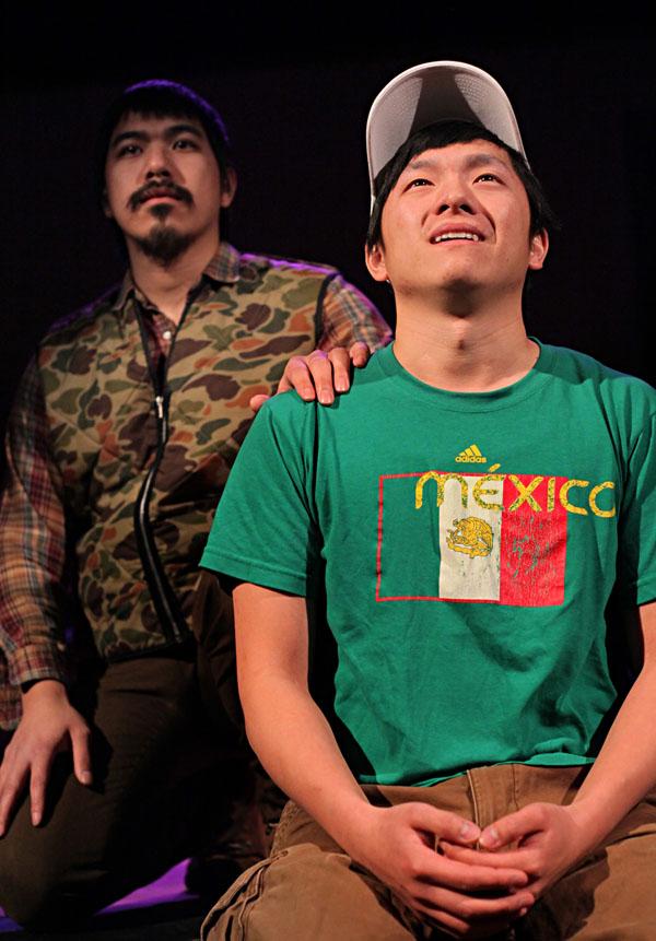 Saikong Yang as Dad, Maxwell Chonk Thao as Pao. Photo: Keri Pickett, courtesy of Mu Performing Arts.