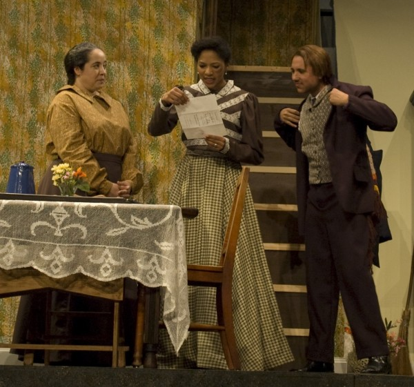 "Roslyn Henderson-Sears (Sophie), Danea Rhodes (Minnie), and Marc Jackson (Frank) in ""Flyin' West."" Photo courtesy of Weathervane Playhouse"