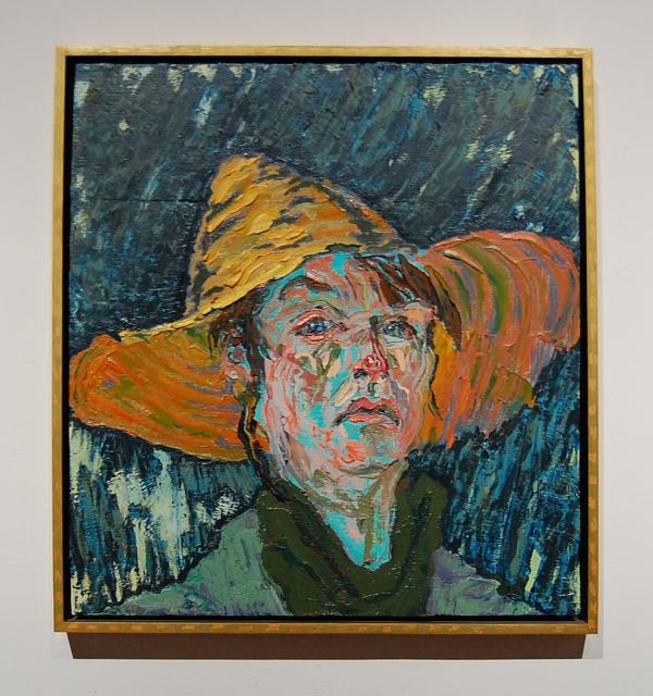 "Helen Mirkil, ""Self-Portrait with Straw Hat."""