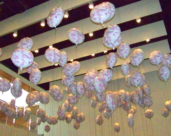 "Installation view at Law Warschaw Gallery, ""Thousandandone Day"" balloons. Photo by Susannah Schouweiler."