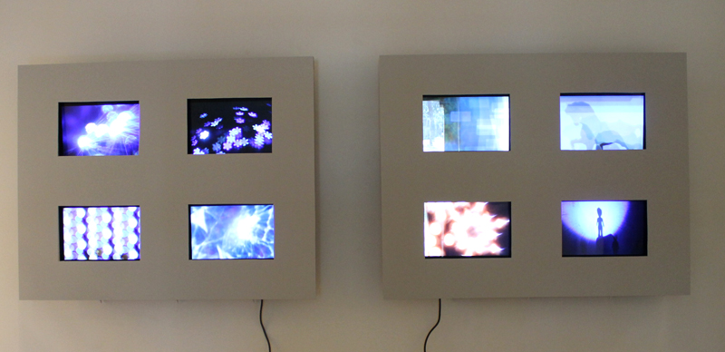 Abstract photographic images created by Craig Coleman were displayed in slide shows on these eight monitors.