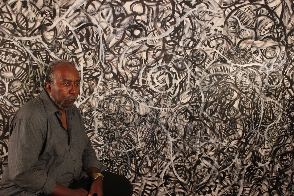 "Ta-coumba Aiken and ""The Calling"" (detail), 2012, acrylic on canvas. Photo: William Franklin (Courtesy of the artist)"