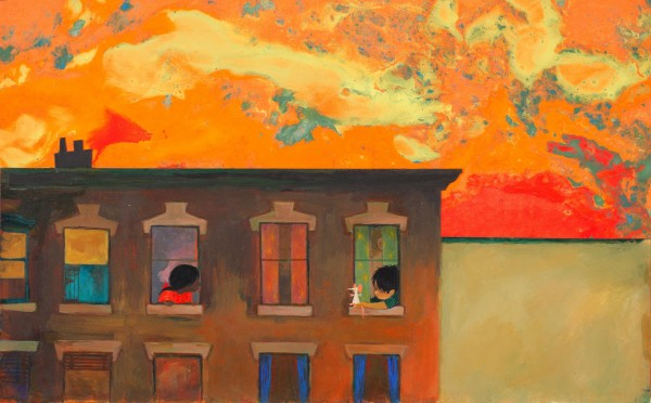 "Ezra Jack Keats, ""It was hot. After supper Roberto came to his window to talk with Amy,"" from ""Dreams"". Photo courtesy of Akron Art Museum"