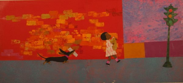 ". Ezra Jack Keats, ""Peter's mother asked him and Willie to go on an errand to the grocery store,"" from ""Whistle for Willie"". Photo courtesy of Akron Art Museum"
