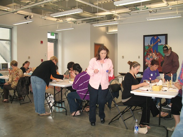 Students work on Pysanky egg designs in the City of Biloxi Center for Ceramics