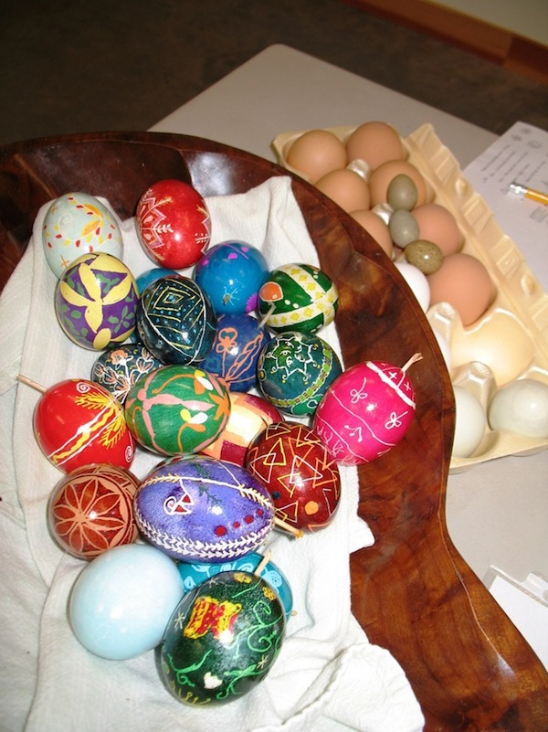 A sampling of the Pysanky eggs that were made at the Ohr-O'Keefe Museum of Art