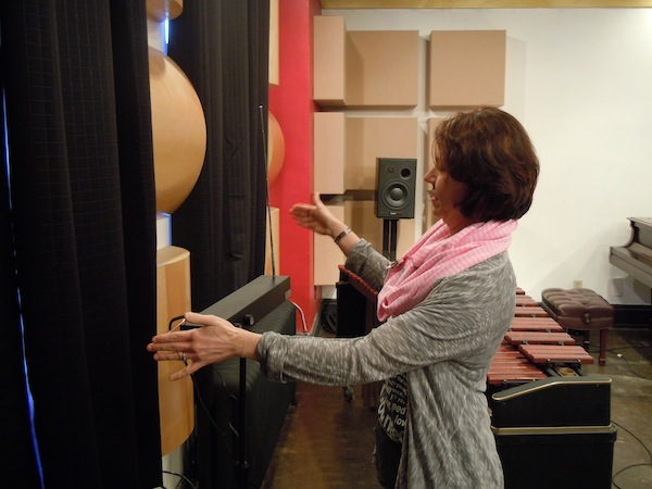 Shannon Wettstein of Zeitgeist plays the theremin, an instrument used in early electronic music.