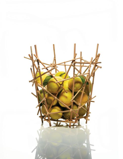 "Fernando Campana and Humberto Campana for Alessi, ""Citrus Basket"" Blow Up Bamboo Collection."