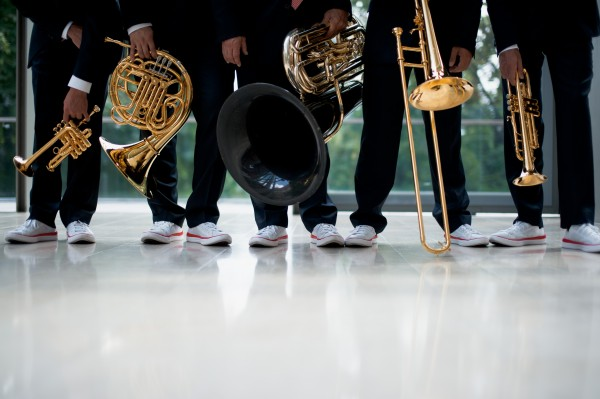 Canadian Brass, feet and instruments. Photo by Bo Huang