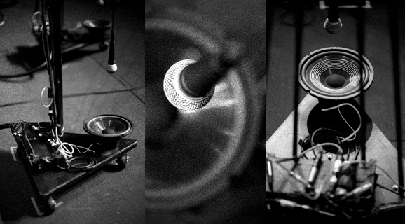 Photos by Zoran Orlic from Kronos's production, Visual Music, which opens with Reich's Pendulum Music for microphones, amplifiers, speakers, and performers.