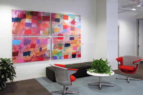 Student artwork hanging at W.L. Gore & Associates, Inc.  Photo by Jeffrey Totaro