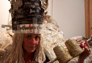 """Queen Charlotte"" by Marynel Watters in the upcoming ecoFab Trash Couture Show 2013."
