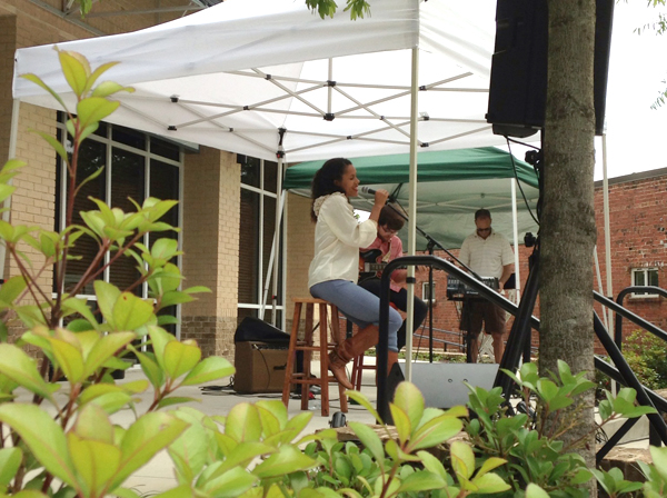 Sophia Bastian performs a lunch-time concert in Mercer Village.