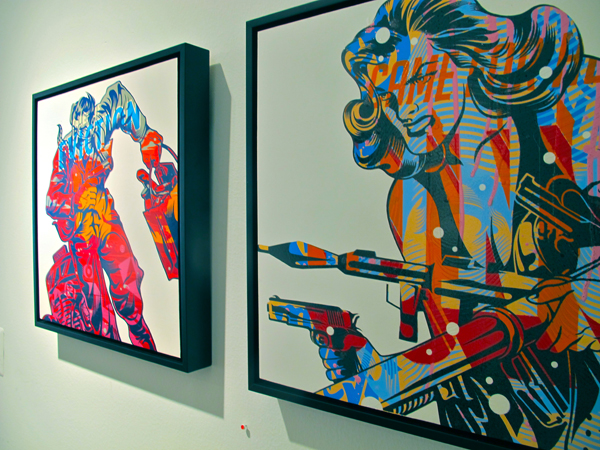 A pair of untitled works by Tristan Eaton/Trustocorp.