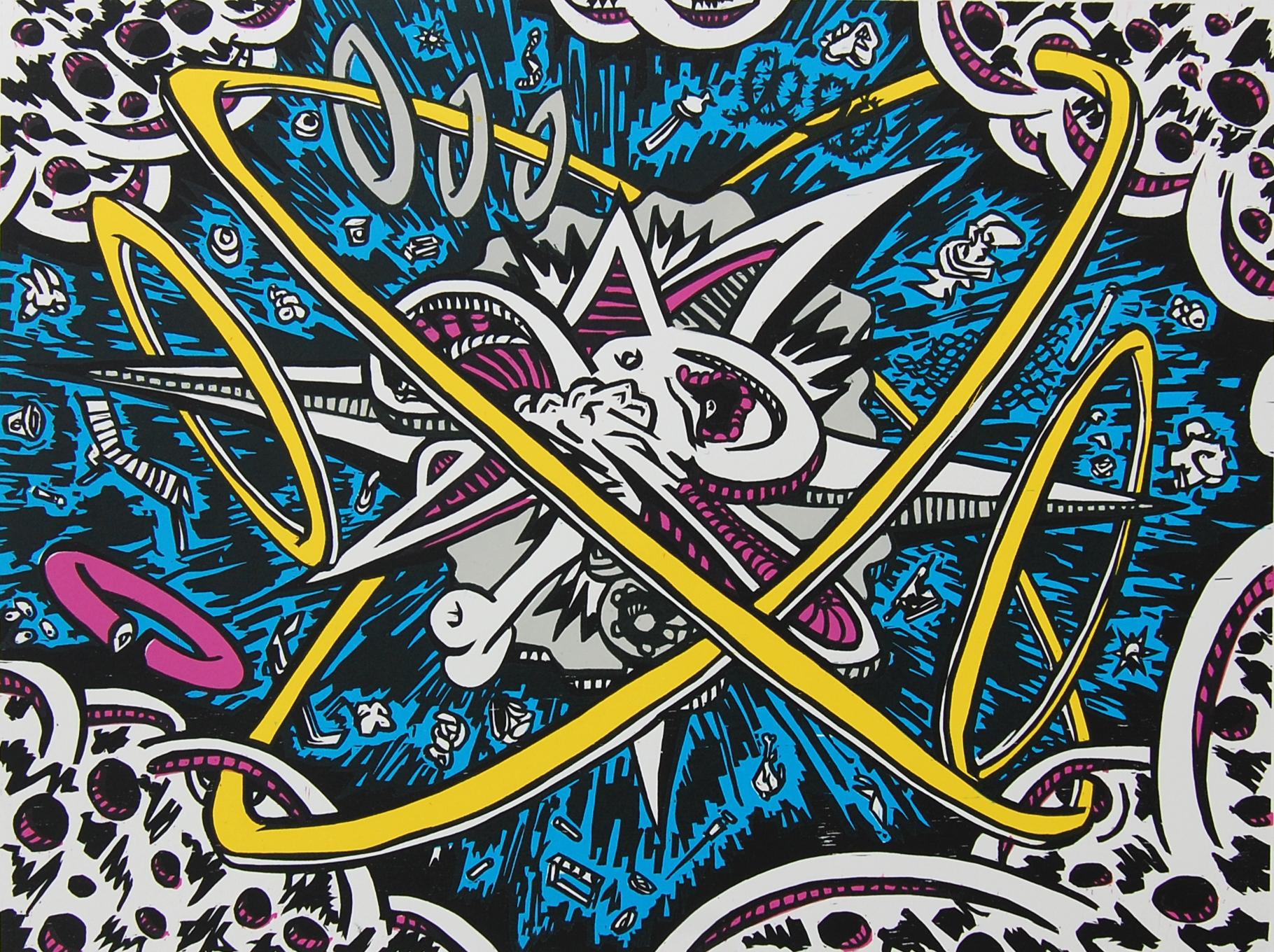 "Daniel Allegrucci, ""Explosion 16BYPPG"": Woodcut print, 2012."
