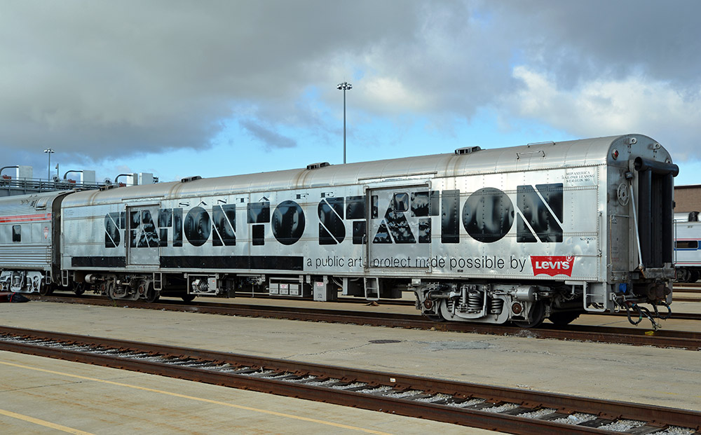 Photo of the traveling art train courtesy of Station to Station.