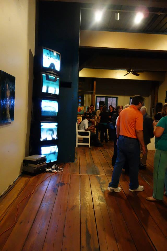 A video installation was part of the exhibit at the pop-up gallery. Photo by Craig Burkhalter.