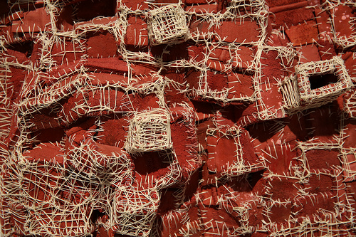 "Elisa D'Arrigo, detail ""Recollection, Terracotta (1)"", cloth, acrylic, paint, thread, 2008. Photo: Sonya Yong James"